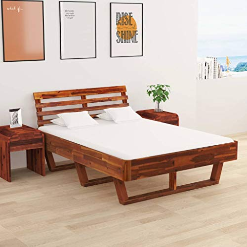 Irfora Bed Frame 140x200 Cm, Double Bed Solid Acacia Wood