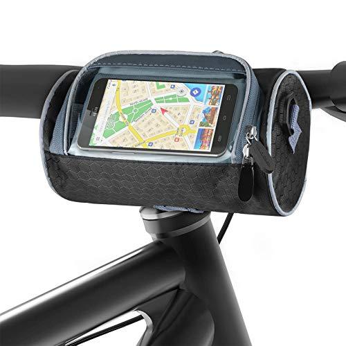 Aujelly Borsa Manubrio Bici, Borse Manubrio Bicicletta, Borsa Bici Impermeabile con PVC Copertura Tocco e Tracolla Removibile, Borsa da Manubrio Mountain Bike per Ciclismo su Strada all'aperto (3L)