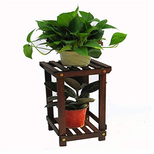 HJ 2-Tier fleur rack usine stand en bois Bibliothèque polyvalent Utilitaire Support de rangement affichage Bonsai étagère d'intérieur Jardin extérieur Jardin Patio Balcon Chambre Salle de bain étagère