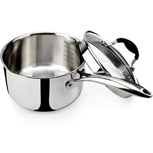 AVACRAFT Top Rated Tri-Ply Stainless Steel Saucepan with Glass...