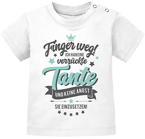 MoonWorks® Baby Kurzarm T-Shirt Finger Weg ich Habe eine verrückte Tante Bio Baumwolle Babyshirt Jungen Mädchen Spruch lustig weiß 92/98 (16-24-Monate)