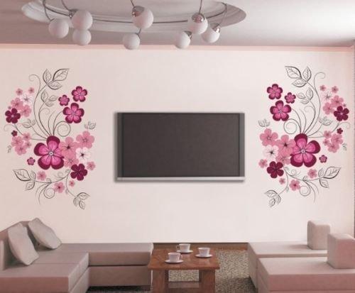 HALLOBO® XXL Wandtattoo Blumen Blumenranke Wandaufkleber Wandsticker Wall Sticker Wohnzimmer Schlafzimmer Deko Esszimmer Korridor