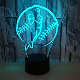 Lightlv Lampes De Chevet Nouvelle Base-Ball De Lampe De Table 3D Créative, Lumière De Vision 3D Tactile Led...