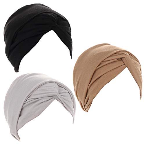 Luckystaryuan 3Pack Women' Soft Stylish Headscarf Headwrap Scarf Cancer Caps Gift (Black Gray Khaki)
