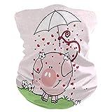 Yuanmeiju Bandeau magique, fleurs mignonnes de cochon rose amour coeur parapluie tête foulard Bandana, Bandana de protection UV pour moto Soccer adulte 25X50 cm