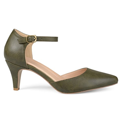 Brinley Co. Womens Faux Leather Comfort Sole D'Orsay Ankle Strap Almond Toe Heels Olive, 7.5 Regular US