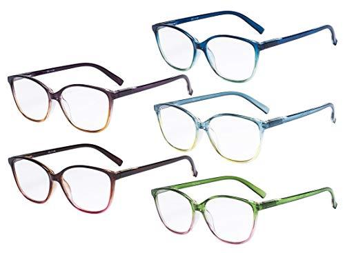 Eyekepper dames leesbril 5-pack groot kattenoog stijlvolle lezer vrouw +1.00 Mengen.