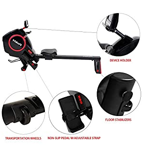 Foldable Rowing Machine 16 Levels Resistance Machine Multi-Mode Indoor Exercise Equipment w/LCD Monitor Magnetic Rowing Machine Quiet Cardio Training Rowing Machine for Home Use, R80
