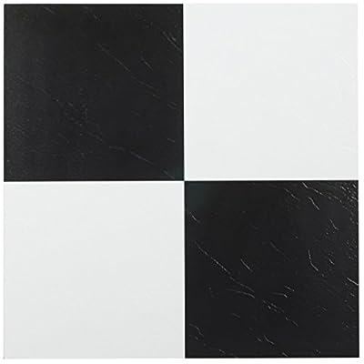 Achim Home Furnishings FTVSO10320 Nexus 12-Inch Vinyl Tile, Solid Black and White, Pack of 20