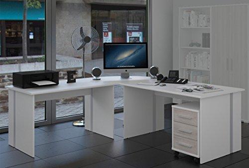 Möbel Pracht Eckschreibtisch Schreibtisch Weiß Gaming Tisch [Große Arbeitsfläche] Bürotisch PC Arbeitstisch Winkelschreibtisch ca.: 229,3 cm x 199 cm - 4 teilig in Weiss/Sorrento | Ecktisch