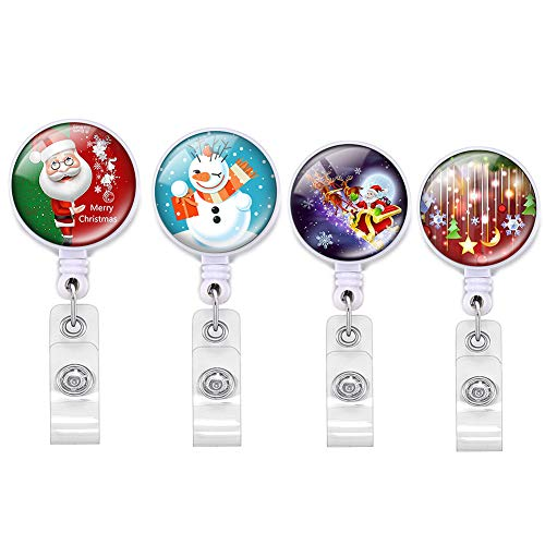 4 Pieces Christmas Badge Reel Retractable Holder Name Decorative Badge Reel Clip with Alligator Clip on ID Card Holders for Office Worker Doctor Nurse (multicolored-15)