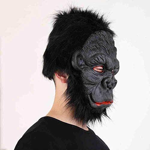 ZGWS Halloween Maskenshow Angezogen King Kong Orang-Utan Maske Gel Material Horror Tier Maske Lächelnde Orang-Utan Maske,Smiling Orangutan Mask