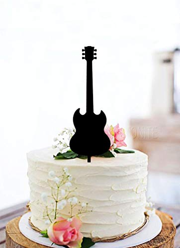 KISKISTONITE Guitar Happy Birthday Cake Topper - Unique Black Acrylic Cake Topper For Birthday Special Events Party Supplies Decoration