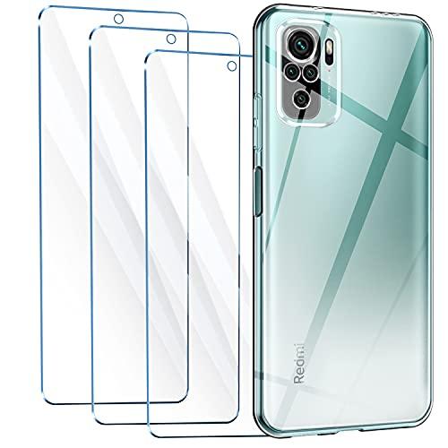Leathlux Cover Compatibile con Xiaomi Redmi Note 10 4G / Note 10S 6.43' con 3 Pellicola Vetro Temperato, Morbido Silicone Protettivo Bumper TPU Gel Smartphone Custodia Case - Trasparente