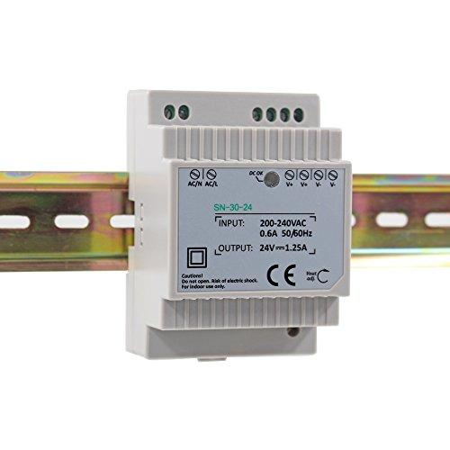 Auforua® Fuente de Alimentación LED 220 VAC/30 W 24 Vdc 1.25 A, Transformador LEDs Estabilizado para Carril DIN