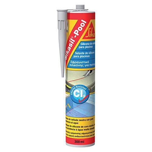 Sikasil Pool, Transparente, Sellador de silicona neutra para juntas en piscinas, Alta resistencia al cloro y antifongicida, 300ml
