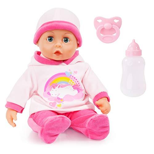 Bayer Design 93824AY Babypuppe First Words mit Schlafaugen, 24 Babylaute, 38 cm, rosa, Einhorn