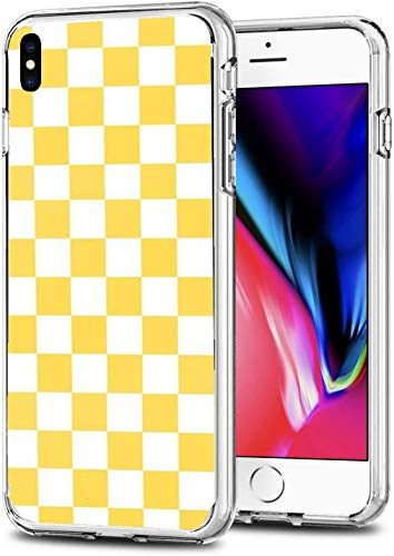 Sliiq Pure Clear Case Transparent Soft TPU Protective Cover Case Compatible for iPhone XR 6.1' Mustard Yellow and White Checkerboard Pattern