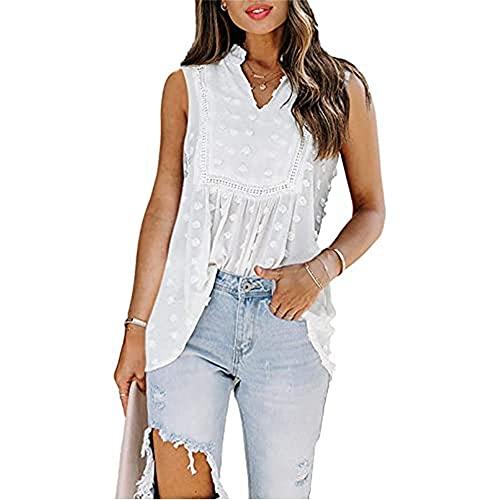 Camisa Mujer Top Mujer Dulce Moda Color Puro Escote En V Manga Corta Verano Vacaciones Casual Suelto Cómodo Elegante De Gasa Mujer Shirt D-White XXL