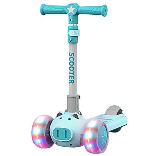 LJHBC Patinete Scooter para niños Estilo de Dibujos Animados Plegable Altura Ajustable 3 Rondas de luz Ejercicio de Equilibrio para niños por 3-12 años (Color : Blue)