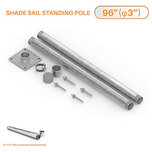 TANG Sun Shade Sail Pole Kit Stand Post Canopy Support Post Rigid Galvanized Metal Steel Pipe Heavy Duty with Base D-Ring Clamp Fence Post Sign Post 8' (96'') (Canopy Support)