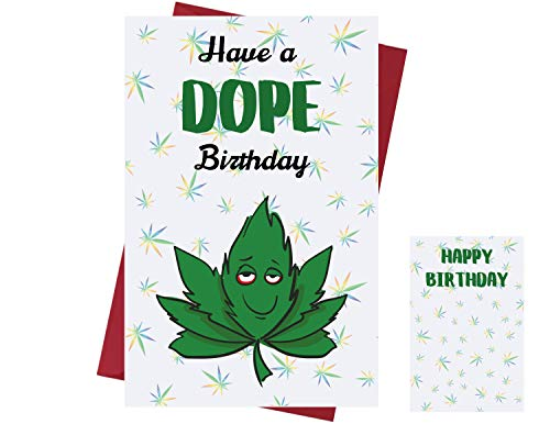 Funny Marijuana Birthday Card for Men & Women – Birthday Card for Smokers – Funny Cannabis Birthday Card for Friends, Family, Coworkers, Etc. – Cannabis Greeting Card – with Envelope