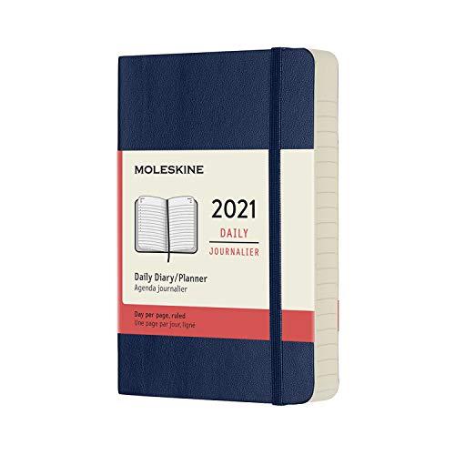 Moleskine - Agenda Diaria 2021 de 12 Meses con Tapa Blanda y Cierre Elástico, Tamaño de Bolsillo de 9 x 14 cm, Color Azul Zafiro, 400 Páginas