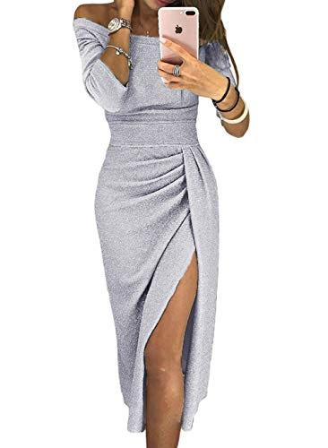 HUUSA Womens Off Shoulder Ruched Sprakling Knitted Midi High Slit Dress Party Wedding Cocktail Medium (US 8-10) Gray