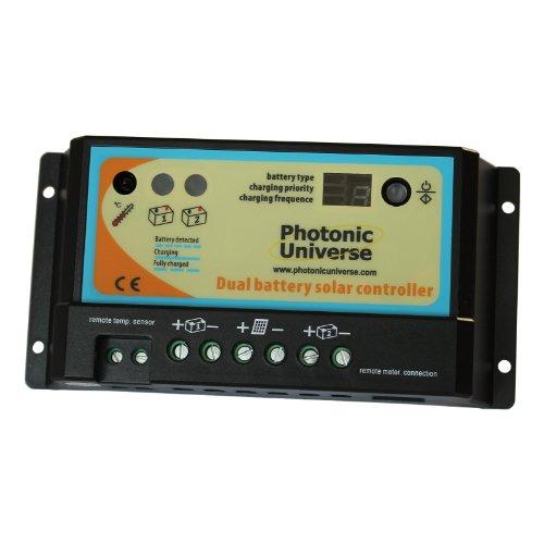 Photonic Universe Dualbatterie-Solarladeregler mit 10 A für Wohnmobil, Wohnwagen, Boot oder jedes System mit zwei 12 V-/24 V-Batterien oder Batteriebänken