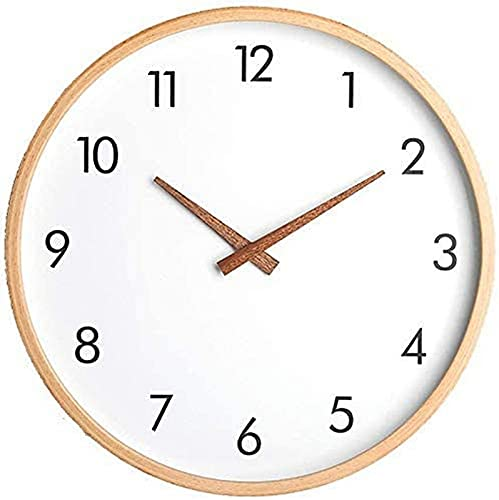 LZXH Reloj de Pared Moderno, Dormitorio Sala de Estar Pared de Madera, Números árabes Que no Hacen tictac Reloj de Pared silencioso Arte Moderno Decor del hogar Relojes de Pared silenciosos