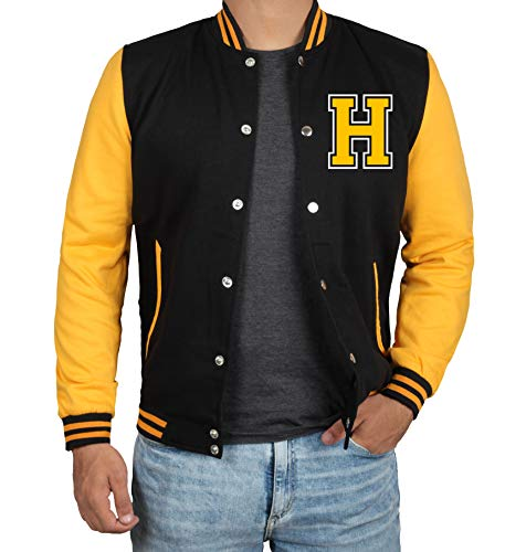Black Men Varsity Jacket - Yellow Letterman Jacket | H Yellow sleeve | M