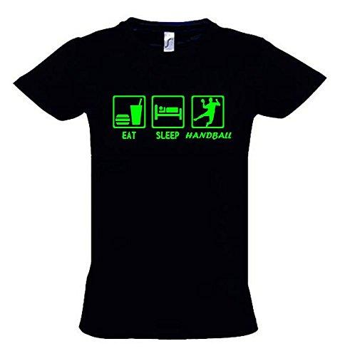 EAT Sleep Handball Kinder T-Shirt schwarz-Green, Gr.152cm