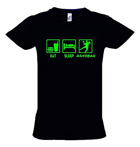 EAT Sleep Handball Kinder T-Shirt schwarz-Green, Gr.152cm