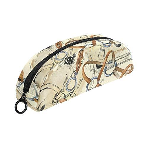 Animal caballo silla patrón lápiz caso bolsa semicircular lápiz bolsa pluma caso caso bolsa papelería bolsa para niños niño niña adolescente escuela