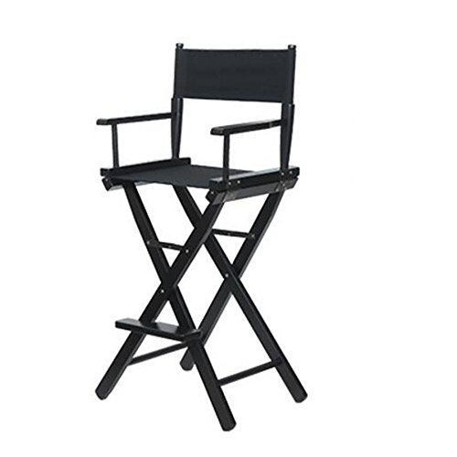 Chaises pliantes Xiaolin Chaise Haute Chaise de Maquillage Chaise de Directeur Chaise de Bar Chaise portative Chaise de Toile (Couleur : Noir)
