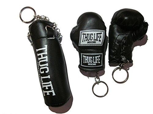 Thug Life Schlüsselanhänger Set Boxsack Sandsack und Boxhandschuhe schwarz Sonderedition (Schriftzug)