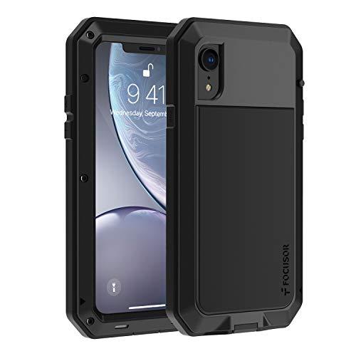 Focusor Coque iPhone XR, 【Antichoc & Renforcé】【Metallique】 Incassable Solide Blindé Coque 360 degré Full Body Heavy Duty Metal Protection Case avec du Verre trempé, Noir