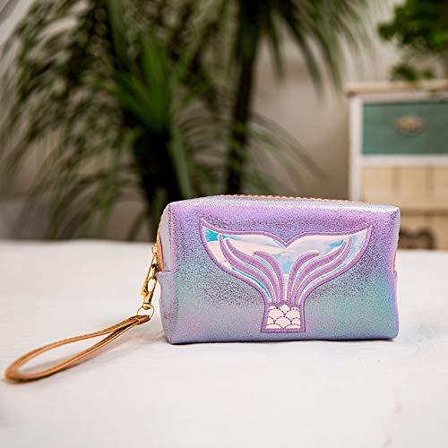 Holographic Mermaid Makeup Bag, Cosmetic Travel Bag Small Toiletry Bag Makeup Organizer for Women