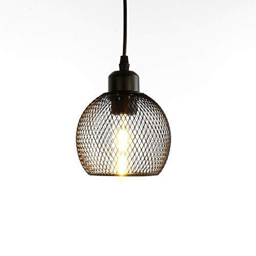 Iluminacion colgante Lámpara colgante industrial Pendiente de la vendimia de la industria ligera malla retro techo lámpara de techo lámpara E27 lámpara de techo de iluminación se enciende Φ14cm for la
