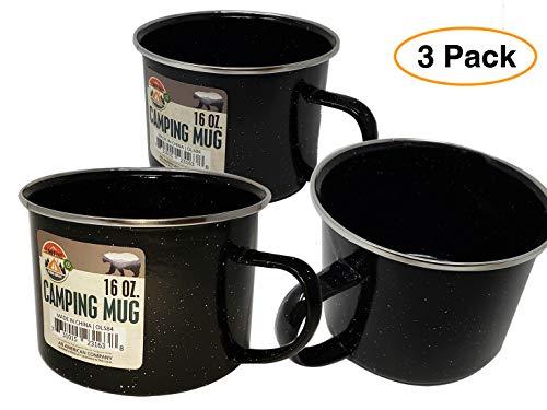 An American company Enamel Metal Outdoor Camping Coffee Mug Tin Cup (3 Pack) 16 oz.