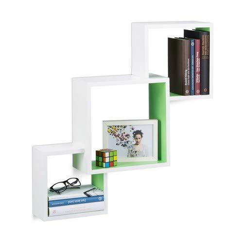 Relaxdays Würfel Regal, Hängeregal Cube für die Wand, freischwebendes Wandboard groß, MDF, HBT: 66x66x15 cm, weiß/grün