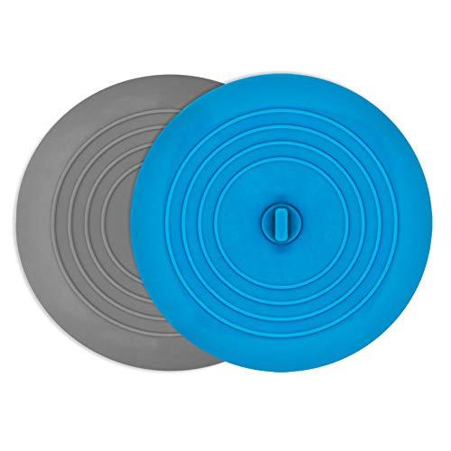 AmazerBath 2 Pack Bath Tub Stopper for Drain, 6 Inches Silicone Shower Drain Bath Plug Stopper for Kitchen, Bathroom, Laundry (Grey-Blue)