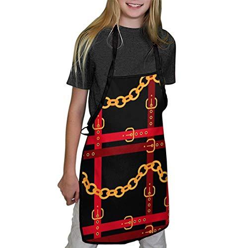 N/A kinderen schort gouden kettingen met rode riemen op een zwart leuk kookschort voor kinderen, 100% polyester, inclusief twee maten S/M