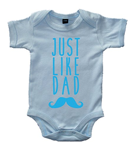 Edward Sinclair 0-3 Months Sky Blue Bodysuit with Just Like Dad with White Print