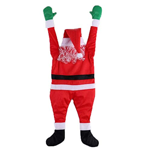 SIZHINAI Christmas Flannel Santa Claus Costume Hanging Ornaments, Christmas Santa Claus Figurine Decoration for Home Window Decoration