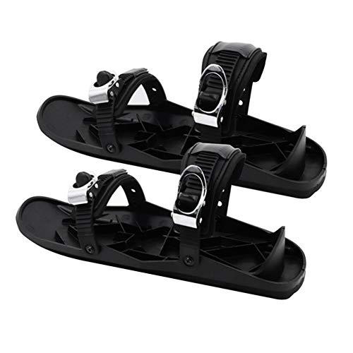 KANUBI Schlitten-Skischuhe, Skischuhe, Mini-Skischuhe, tragbare Mini-Snowboard-Skischuhe für den Winter im Freien, tragen, verstellbar, schwarz in Einheitsgröße