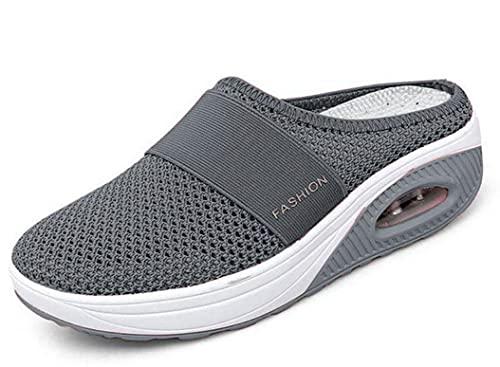 shengyuefeng Zapatos para Caminar sin Cordones con cojín de Aire para Mujer, Zapatos ortopédicos para Caminar para diabéticos, Transpirables con Soporte de Arco (Dark Gray,7)