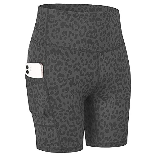 ArcherWlh Yoga Pantalones,Pantalones Cortos de Yoga Desnuda de impresión de Mujeres con Bolsillos, Piel de Piel, Deportes de Secado rápido, Pantalones Cortos de Aptitud-Graop Profundo_S