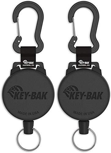 Key-Bak Heavy Duty Securit retráctil carrete con funda de policarbonato, aluminio Mosquetón y Split Ring, Gran resistencia 122 cm/226,8 g (48'/8 onzas), paquete de 2 unidades