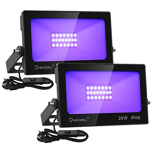 Onforu 2er 20W LED Schwarzlicht Strahler, UV Fluter mit Stecker, Fluoreszenz Schwarzlichtlampe mit Kabel, Blacklight Partylicht für Bühnen Beleuchtung, UV Scheinwerfer für Party Graffiti Neonfarben